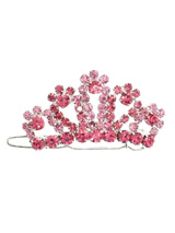 Regal Pink Crown Swarovski Hair Clip / Dog Barrette - This Crown hair pin comprises of 40 dark pink and 40 light Swarovski Crystals, a beautiful piece of work to enhance any head. Measures approx. 1.5'' - 4cm wide.