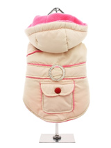 Cream / Pink Quilted & Hooded Bodywarmer - Practical with a splash of bling! A cream hooded bodywarmer, trimmed with fuchsia pink piping and a diamante style belt loop. It also has a pocket and some shoulder detailing for visual impact. The soft fleece lining will certainly keep your pup snug and warm, while the pop buttons fastening on the...