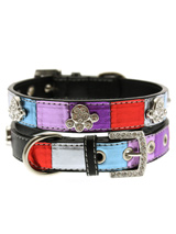 Striped Metallic Diamante Paw Collar - It doesn't get any more bling or beautiful than this collar! This multi coloured leather collar with a stitched edging has a crystal encrusted buckle with three bling sparkling diamante paws. The leather has been given a metallic finish on the purple, red, blue and silver sections. A glamorous addit...
