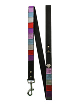 Striped Metallic Diamante Paw Lead - Striped metallic leather lead with a silver clip and finished with a diamante paw.S-M Width: 14mmM-L Width: 19mmL-XL Width: 25mmLead Length: 1.08m / 48''