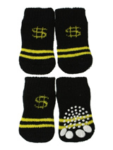 Black / Yellow ''Dollar'' Pet Socks - These fun and functional doggie socks protect your dogs paws from mud, snow, ice, hot pavement, hot sand and other extreme weather. Made from 95% cotton and 5% spandex making them comfortable and secure. Each sock features a paw shaped anti-slip silica pad and help keep your house sanitary.