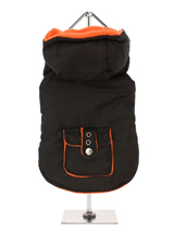 Brown / Orange Fleece-Lined Bodywarmer with Hood - This sleeveless hooded  bodywarmer is just the thing for slipping on off easily, lined with a vivid orange fleece to keep your pup snug and warm. Four poppers on the underbelly allow for fast and easy closure and makes it easy for you to take the coat on and off your pup.  There is a pocket with fla...