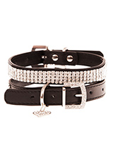 Jet Black Diamante Dog Collar - This dazzling Diamante dog collar in black is truly stunning. The collars have 4 rows of sparkling diamante crystals. It comes complete with a diamante heart collar charm and crystal encrusted buckle. A pure bling accessory that will adorn your dogs neck with a unique brilliance. Truly a glamorous a...