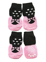Ballerina Pet Socks - These fun and functional doggie socks protect your dogs paws from mud, snow, ice, hot pavement, hot sand and other extreme weather. Made from 95% cotton and 5% spandex making them comfortable and secure. Each sock features a paw shaped anti-slip silica pad and help keep your house sanitary. (set of...