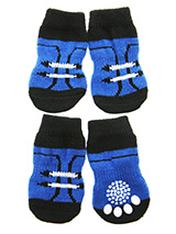 Footballer Pet Socks - These fun and functional doggie socks protect your dogs paws from mud, snow, ice, hot pavement, hot sand and other extreme weather. Made from 95% cotton and 5% spandex making them comfortable and secure. Each sock features a paw shaped anti-slip silica pad and help keep your house sanitary. (set of...