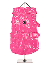 Fuschia PVC Waterproof Trench Coat - This iconic high gloss trench coat is a key piece for any winter wardrobe and represents an exciting twist on this classic wardrobe staple. It is 100% waterproof with a leash hole to allow a harness to be worn underneath the coat. This sophisticated yet practical trench coat has a fully adjustable b...