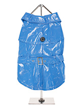Blue PVC Waterproof Trench Coat - This iconic high gloss trench coat is a key piece for any winter wardrobe and represents an exciting twist on this classic wardrobe staple. It is 100% waterproof with a leash hole to allow a harness to be worn underneath the coat. This sophisticated yet practical trench coat has a fully adjustable b...