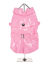 Pink PVC Waterproof Trench Coat - This iconic high gloss trench coat is a key piece for any winter wardrobe and represents an exciting twist on this classic wardrobe staple. It is 100% waterproof with a leash hole to allow a harness to be worn underneath the coat. This sophisticated yet practical trench coat has a fully adjustable b...