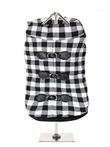 Two Tone Checked Coat - With its soft funnel neck this stunning coat is elegant and practical and is guaranteed to keep the cold at bay and the soft fleece lining will keep your dog toasty warm. The arms and hem are elasticated for a great fit. It features three faux fasteners but the coat has four poppers which fasten alo...
