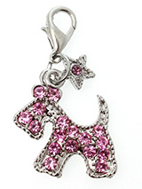 Pink Diamante Scottie Dog Collar Charm - Accent your pup's collar with our Pink Diamante Scottie Dog Collar Charm. The adorable dog shape lets everyone know who's the most fashionable pup on the block. The rhinestone accents add all the bling you need, for eye-catching style that matches the sparkling personality of your best friend.