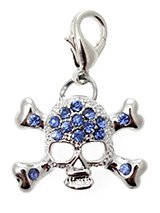 Blue Diamante Skull Dog Collar Charm - Skulls never go out of style and this diamante encrusted piece is no exception. Skulls don't have to be scary, they can also be cool and edgy making your pup the coolest dude or dudette on the block.