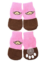 Cheeky Monkey Pet Socks - These fun and functional doggie socks protect your dogs paws from mud, snow, ice, hot pavement, hot sand and other extreme weather. Made from 95% cotton & 5% spandex making them comfortable and secure. Each sock features a paw shaped anti-slip silica pad & help keep your house sanitary. (set of 4).