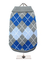 Grey / Blue Argyle Sweater - Knitted grey sweater with a dark/light blue diamond pattern. The Argyle pattern has seen a resurgence in popularity in the last few years due to its adoption by Stuart Stockdale in collections produced by luxury clothing manufacturer, Pringle of Scotland. The rich Scottish heritage will give your pu...