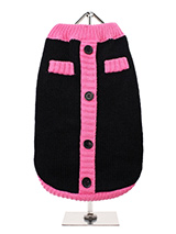Black & Pink Mod Sweater - Urban Pups 1960s Mod stripe panel cardigan conjures up images of 1960s style. This cool knit pullover cardigan celebrates the revival of this cool style. Cute purple faux buttons work perfectly against the classic black wool blend fabric. A truly stylish Autumnal Vintage inspired pullover cardigan t...