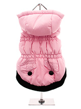 Pink Quilted Coat with Hood - This hooded coat is perfect for those chillier days. Practical and fashionable in girly pink trimmed with a black elasticised ribbed hem for a nice neat fit with two black buttons on the outside faux pockets. The soft fleece lining will certainly keep your pup snug and warm.