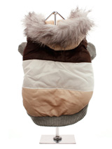 Brown Stripe Luxury Ski Parka - This tri-colour ski parka gives the ultimate feeling of luxury with its faux fur hood. The elasticised arms and hem give the Ski Parka a neat fit that will keep the cold and wind at bay. The buttons on the underside make it easy to take on and off your pup, while the soft fleece lining will keep you...