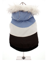 Blue & White Luxury Parka - This multi-colour ski parka gives the ultimate feeling of luxury with its faux fur hood. The elasticised arms and hem give the Ski Parka a neat fit that will keep the cold and wind at bay. The buttons on the underside make it easy to take on and off your pup, while the soft fleece lining will keep y...