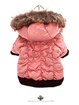 Luxury Pink Quilted Ski Parka - A gorgeous dusky pink quilted ski parka. The arms and hem are elasticised to ensure the best possible fit. While, the velcro fastening makes it easy to take on and off your pup. The soft pink fleece lining will keep your pup cosy and warm.