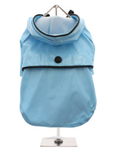 Duck Egg Blue Raincoat - Protect your pup from the rain with this waterproof raincoat. The adjustable draw string hood will keep the raincoat snug to your pup's face, while the soft lining will keep your dog comfortable. The velcro fastenings make it easy to put on and take off your pup. This duck egg blue raincoat is trimm...