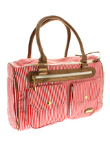 London Red Pet Carrier - We bring you the London Red candy striped Pet Carrier. Designer fabrics and trims combine to create a chic carrier fit to show off your pet while complementing your wardrobe. Unlike other bags, the London Pet Carrier is specifically designed to make your pet's journey as comfortable and as safe as p...