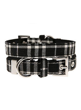 Black & White Tartan Fabric Collar