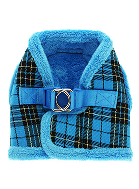 Luxury Fur Lined Blue Tartan Harness