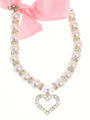 Pearl Heart Charm Dog Necklace