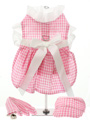 Pink Gingham / White Satin Ribbon Harness Dress, Lead & Cap