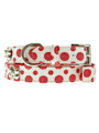 Red / White Polka Dot Glitter Silver Bone Collar & Lead Set